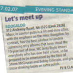 Evening Standard Feb 07 press cut