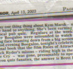 Sunday Mirror April 2003 press cut